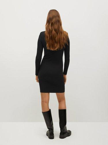 Černé žebrované šaty Mango