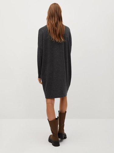 Tmavě šedé svetrové šaty Mango