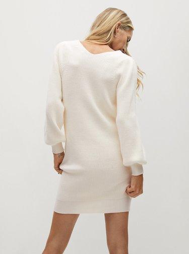 Krémové svetrové šaty Mango