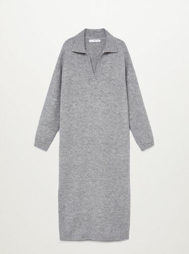 Šedé svetrové šaty Mango