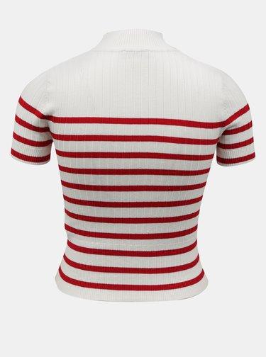 Biele pruhované krátke tričko TALLY WEiJL
