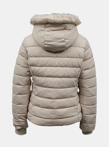 Krémová zimná prešívaná bunda s umelým kožúškom TALLY WEiJL