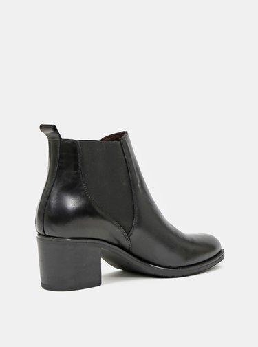 Černé dámské kožené kotníkové boty OJJU