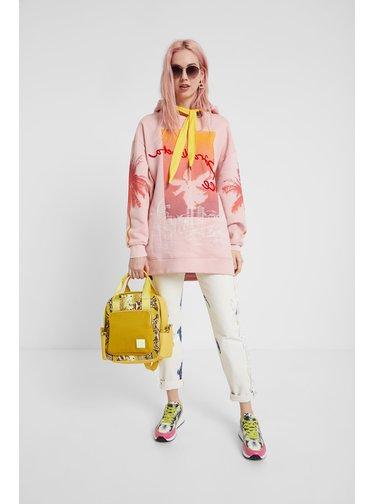 Desigual růžovo-žlutá oversize dámská mikina Sweat Tropical Barceloneta