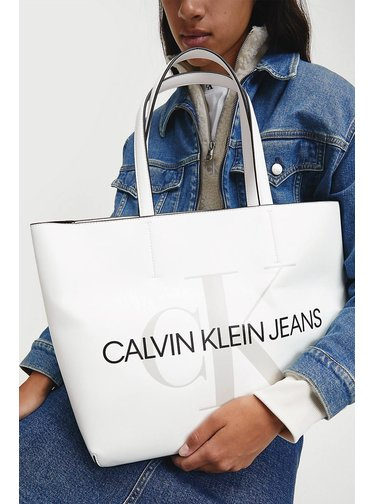 Calvin Klein bílá kabelka shopper