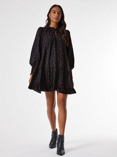 Čierne vzorované voľné šaty Dorothy Perkins