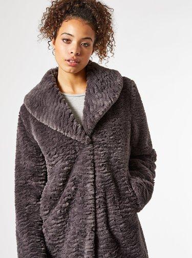 Šedý zimný kabát z umelého kožúšku Dorothy Perkins Tall