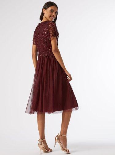 Vínové šaty s flitrovým topem Dorothy Perkins