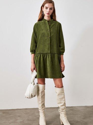 Zelené košilové manšestrové šaty Trendyol