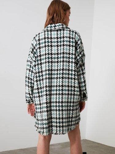 Zelený kostkovaný lehký kabát Trendyol