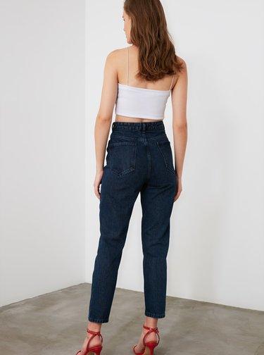 Tmavě modré mom fit džíny Trendyol