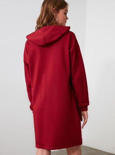 Vínové mikinové šaty Trendyol