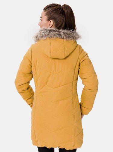 Žlutý dámský zimní prošívaný kabát SAM 73