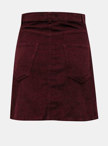 Vínová manšestrová sukně VERO MODA