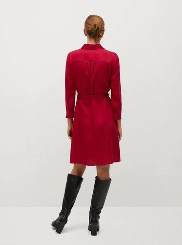 Červené košilové šaty Mango