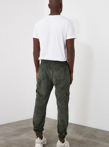 Khaki pánské manšestrové cargo kalhoty Trendyol