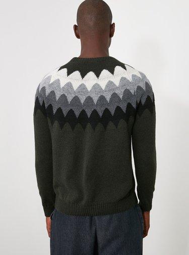 Tmavě zelený pánský vzorovaný vlněný svetr Trendyol