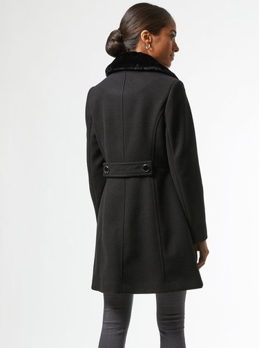 Černý zimní kabát Dorothy Perkins Petite