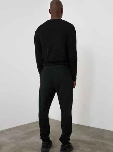 Černé pánské vzorované tepláky Trendyol