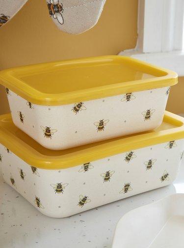Sada dvou krémovo-žlutých bambusových  krabiček Cooksmart