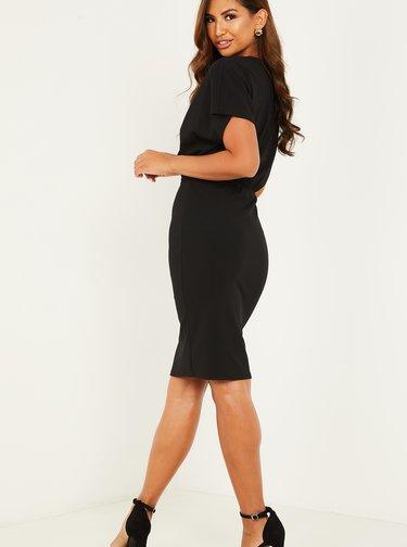 Čierne púzdrové šaty s opasok QUIZ