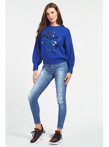 Guess modrý svetr 4G Logo Embroidery Sweater