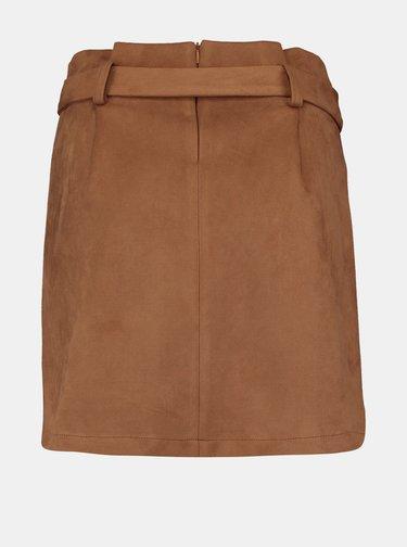 Hnedá sukňa v semišovej úprave Hailys