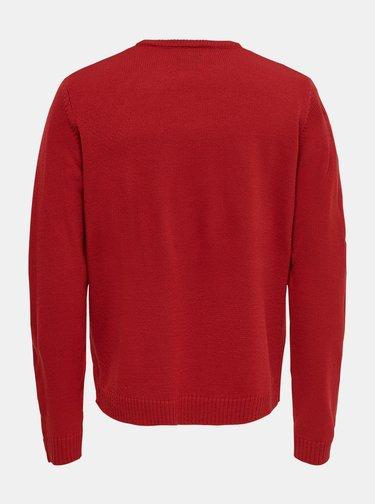 Červený svetr s vánoční motivem ONLY & SONS Xmas