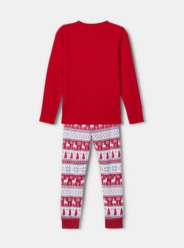 Červené holčičí pyžamo s vánočním motivem name it