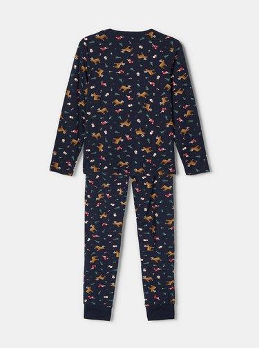 Tmavomodré chlapčenské pyžamo s vianočným motívom name it