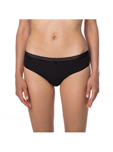 Dámské kalhotky FANCY COTTON HIPSTER - Dámské vykrojené kalhotky s krajkou - černá