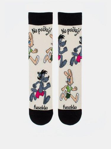 Krémové vzorované ponožky Fusakle No počkej Chyť mě