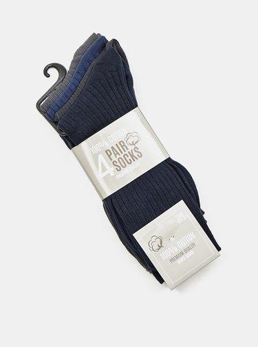 Sada čtyř párů pánských ponožek v černé a modré barvě Something Special