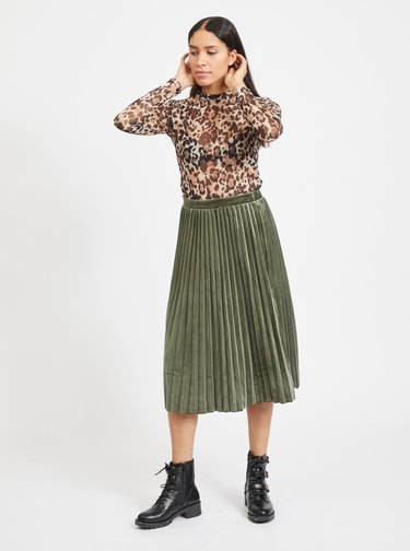Zelená sametová plisovaná midi sukně VILA