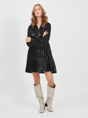 Čierne voľné lesklé šaty VILA