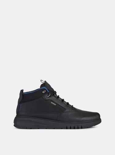 Černé pánské kožené zimní boty Geox