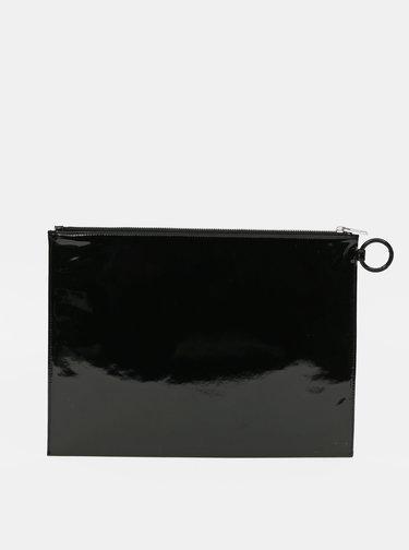 Čierna lesklá listová kabelka s nápisom Diesel