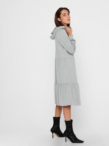 Svetlošedé mikinové šaty s kapucou Jacqueline de Yong