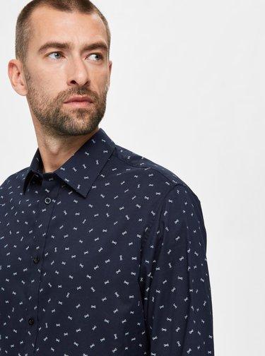 Tmavě modrá vzorovaná košile Selected Homme
