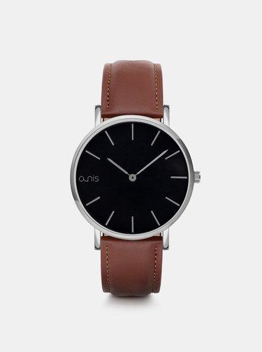 Sada dámského náramku, náhrdelníku a hodinek s hnědým koženým páskem a-nis