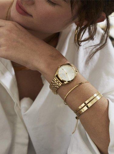 Sada dámských hodinek a náhradního řemínku v černé a zlaté barvě Rosefield