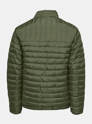 Kaki prešívaná zimná bunda ONLY & SONS