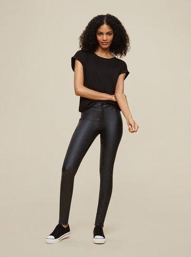 Čierne koženkové skinny fit nohavice Dorothy Perkins Tall
