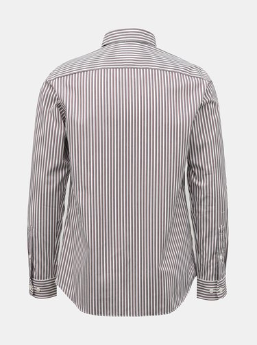 Hnedo-biela pruhovaná košeľa Selected Homme
