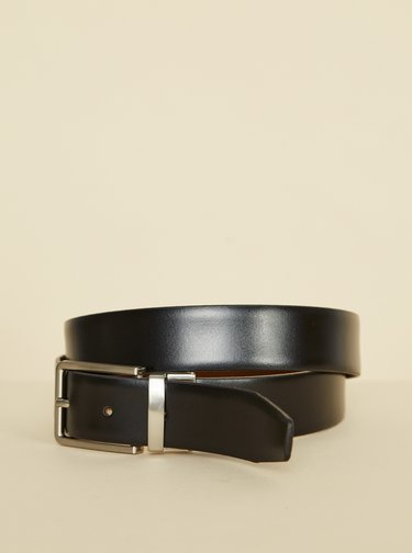 Černo-hnědý pánský kožený oboustranný pásek OJJU
