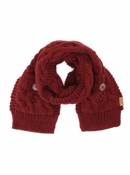Eșarfă tricotată ONLY Tilde cu nasturi - vișiniu