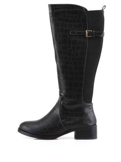 Cizme negre înalte Victoria Delef cu model imitație de piele de crocodil