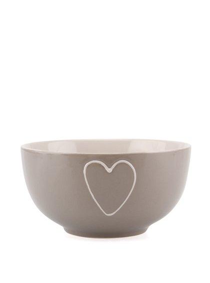 Sivá keramická miska s ručne zdobeným srdcom Dakls