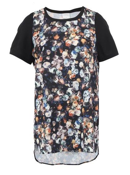 Čierna dlhšia tunika s kvetinovým vzorom JUNAROSE Nathalie