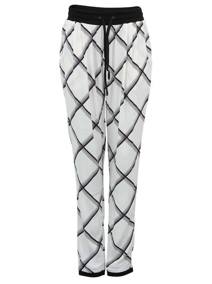 Pantaloni albi largi YAS Ginny cu model